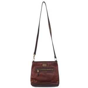 Dual Tone Brown Leather Crossbody Bag Small Square